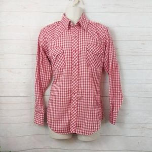 Western Pearl Snap Red Gingham Plaid Sears 15-15.5